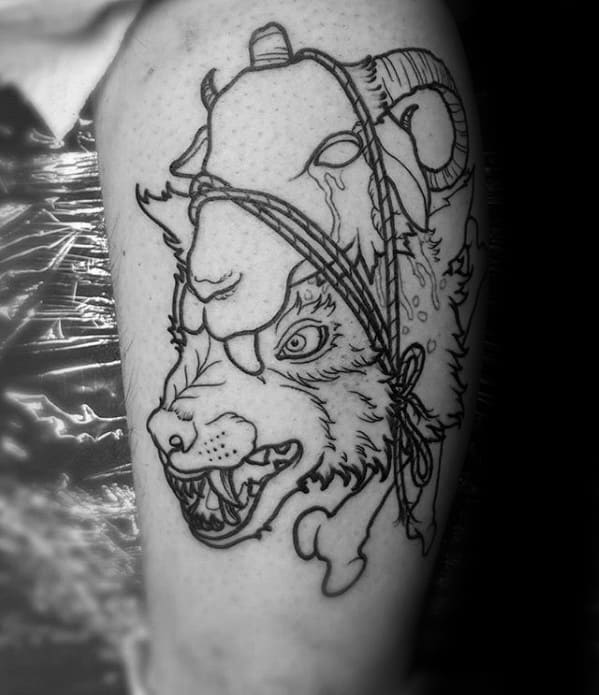 Mens Wolf In Sheeps Clothing Thigh Black Ink Tattoo Design Ideas