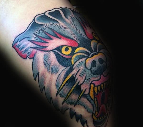 Mens Wolf Knee Old School Tattoo Ideas