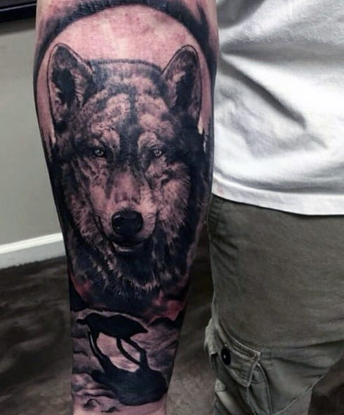 Men's Wolf Paw Tattoo