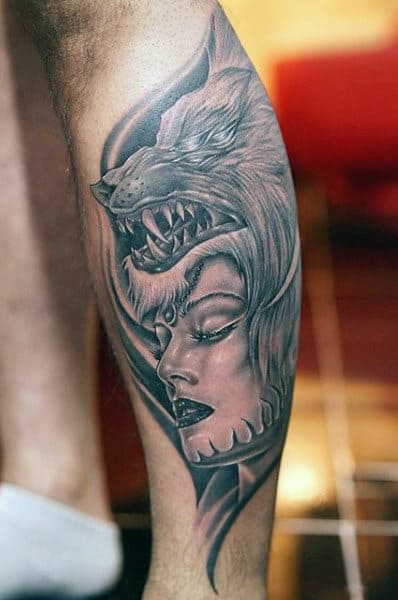 Men's Wolf Sleeve Tattoo
