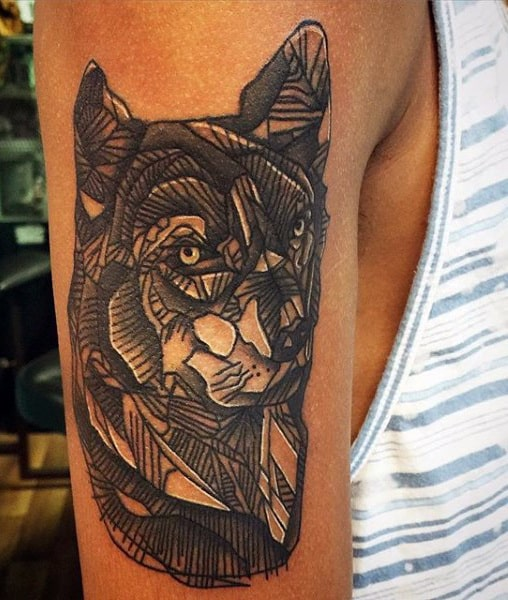 Men's Wolf Tattoo Sleeve