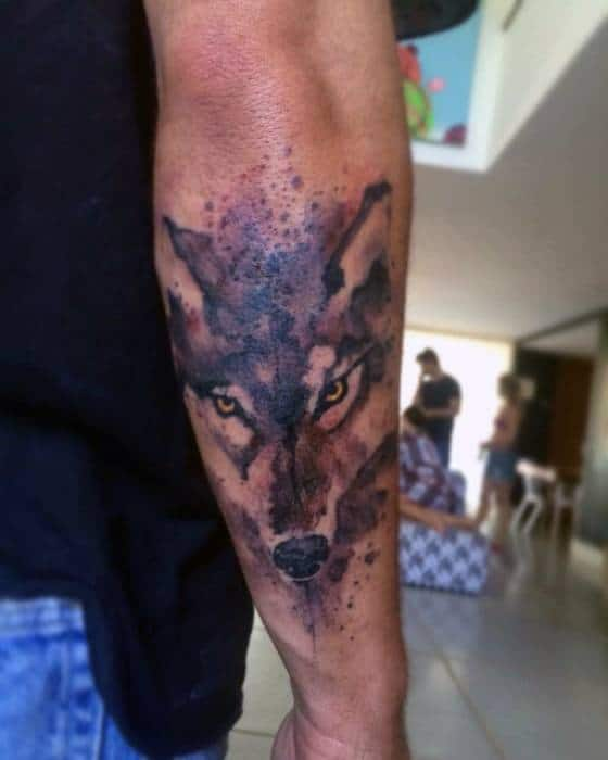 Mens Wolf Watercolor Tattoo Design Ideas