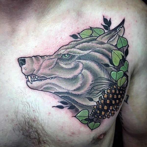 Mens Wolf With Pine Cone Upper Chest Tattoo
