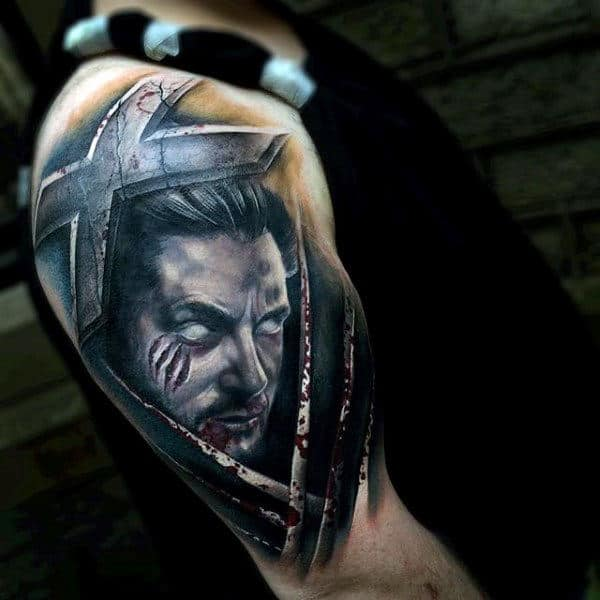 Mens Wolverine 3d Half Sleeve Tattoo Designs
