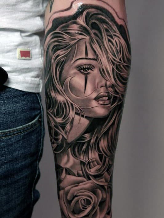 Mens Woman Portrait Forearm Sleeve Tattoo Designs