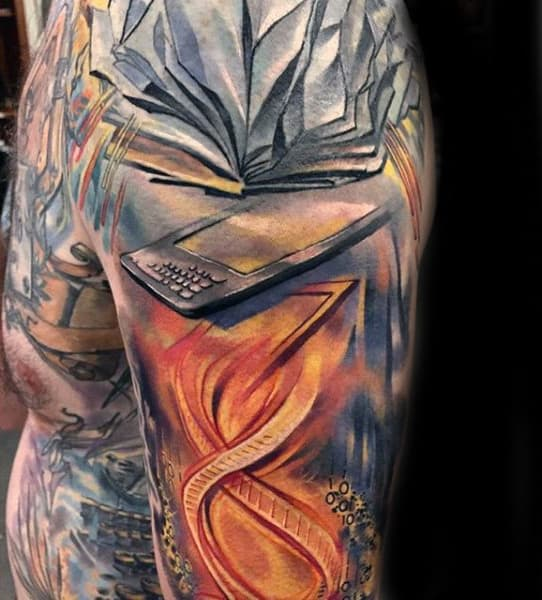 Mens Wonderful Orange Colored Tattoo With Flying Pages Of Book Tattoo