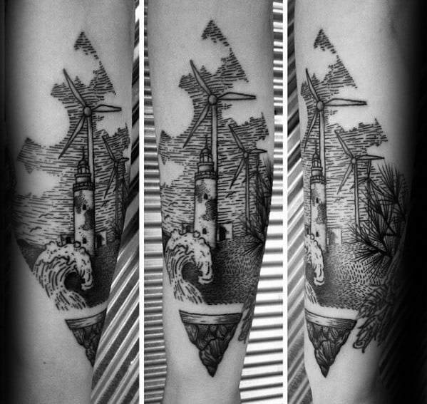 Mens Wood Cut Windmill With Ocean Wave Forearm Tattoo