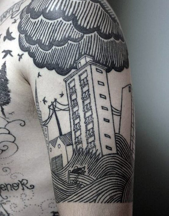 Mens Woodcut Building With Flood And Clouds Half Sleeve Tattoo