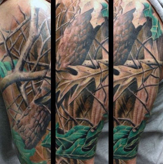 Mens Woods Camouflage Tattoo Designs On Arm