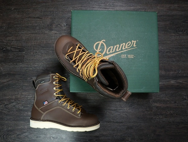 Mens Work Boots Danner Quarry Brown Alloy Toe Wedge