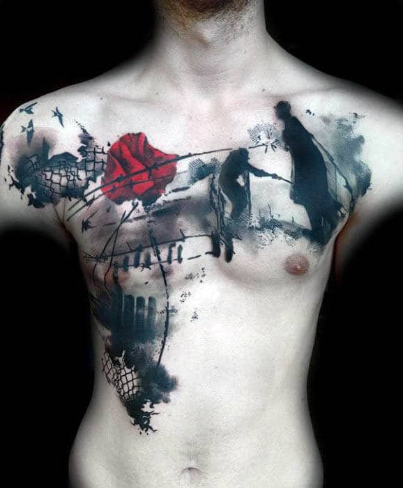 Mens World War I Abstract Tattoo In Black In With Red Poppy Flower On Chest