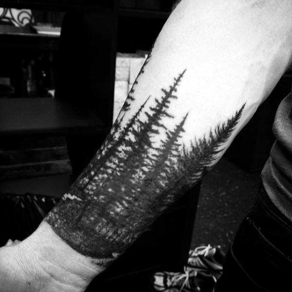 Men's Wrist And Forearm Pine Tree Tattoo Designs