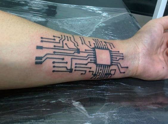 Mens Wrist Circuit Board Tattoo Design Ideas