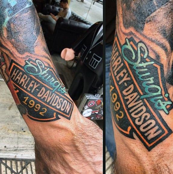 Mens Wrist Harley Davidson Symbol Tattoos