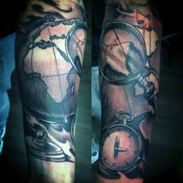 Mens Wrist Map Tattoo With Compass