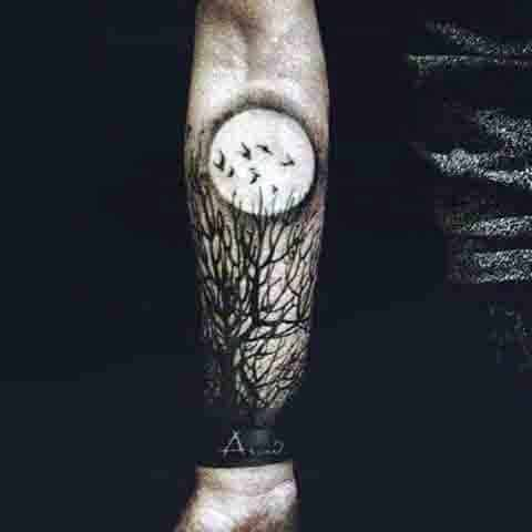 Mens Wrist Moon Tattoo With Black Trees