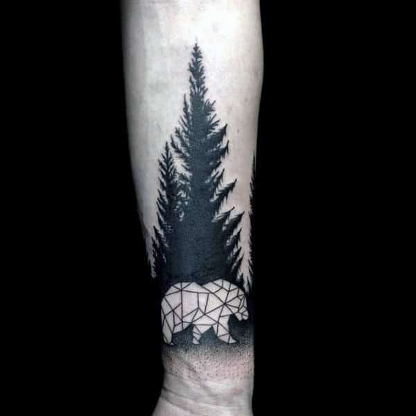 Mens Wrist Pine Tree Negative Space Geometric Bear Tattoo