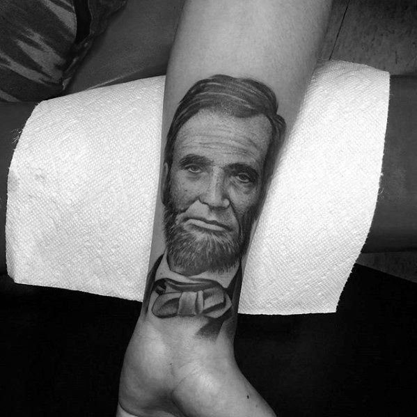 Mens Wrist Portrait Of Abraham Lincoln Tattoo Ideas