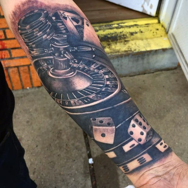 Mens Wrist Sleeve Rolling Dice Tattoo In Black Ink