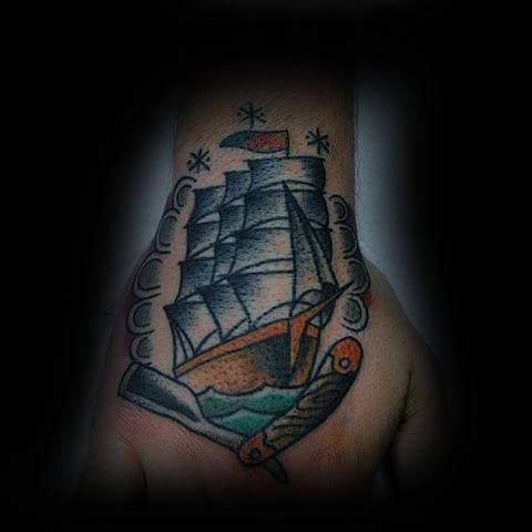 Mens Wrist Straight Razor And Ship Tattoo