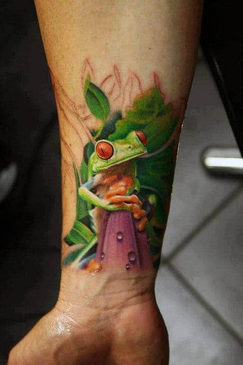 Mens Wrist Tattoo Of Frog With Realistic Design