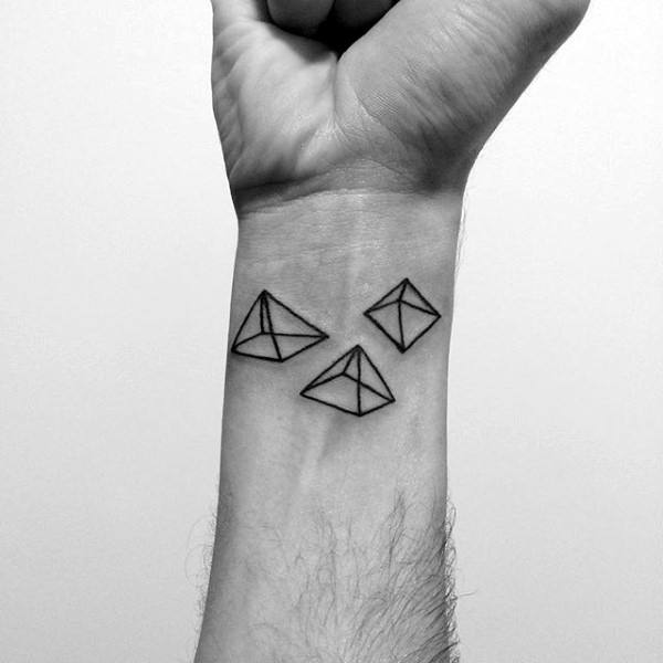 Mens Wrist Three Pyramid Geometrical Tattoo