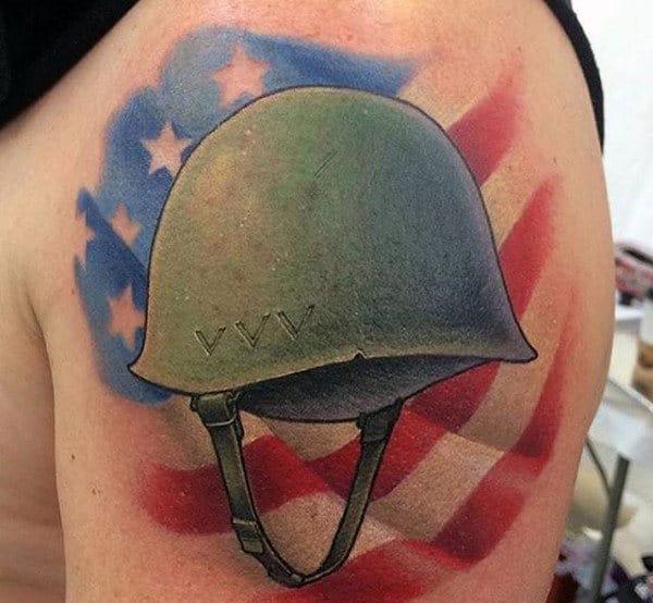 Mens Ww2 Battle Helmet Upepr Arm Tattoo With Usa Flag Design