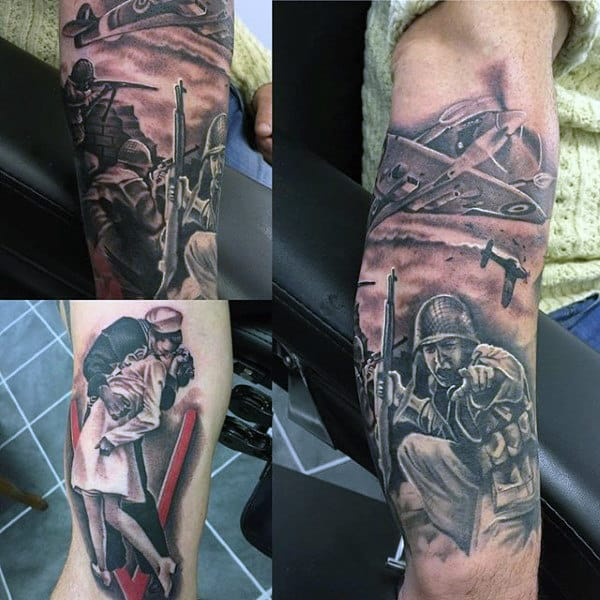 Mens Ww2 Themed Arm Tattoo Inspiration