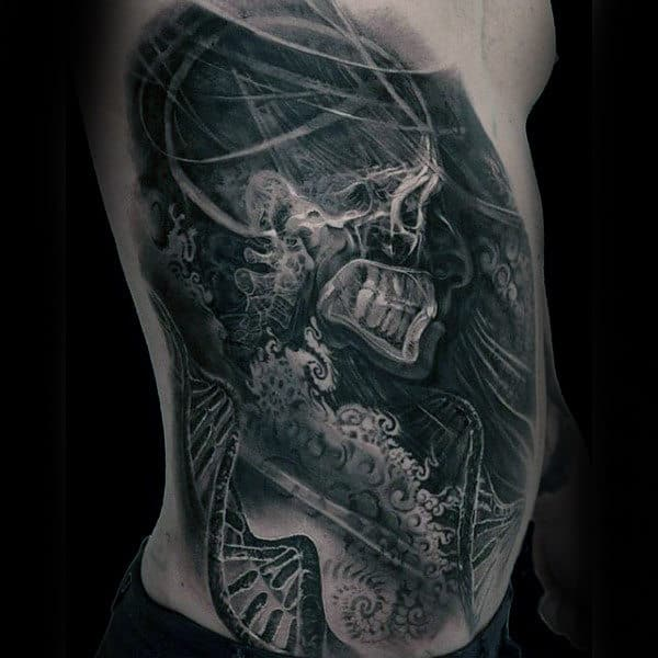 Mens X Ray Skleton With Dna Helix Strands Black Ink Ribs Tattoo