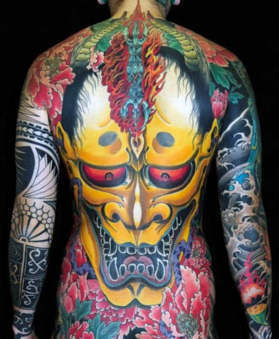 mens-yellow-demon-japanese-back-tattoo-ideas
