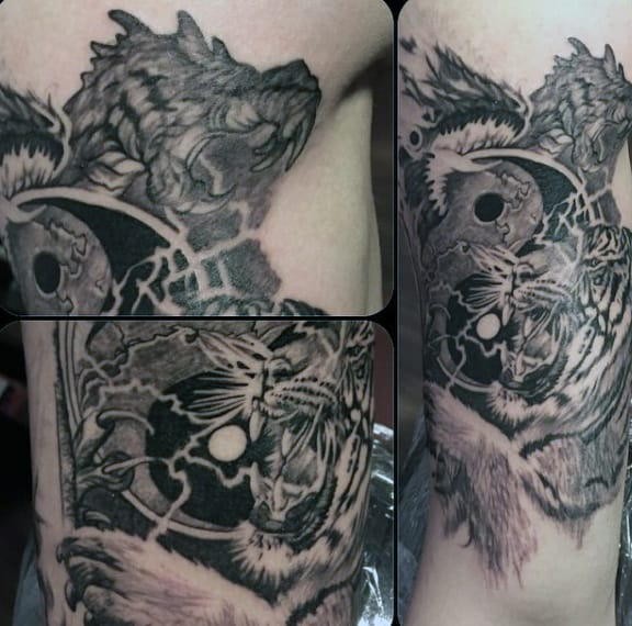 Mens Yin And Yang Tattoo With Tiger