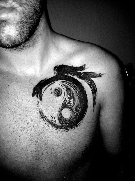Mens Yin Yang Ouroboros Tattoo On Chest