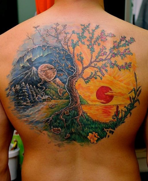 Mens Yin Yang Sunset And Night Sky Tree Back Tattoos