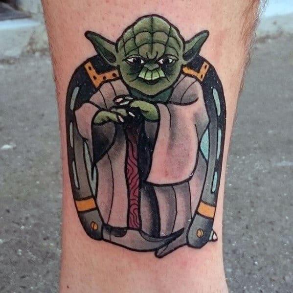 Mens Yoda Horseshoe Old School Leg Tattoo