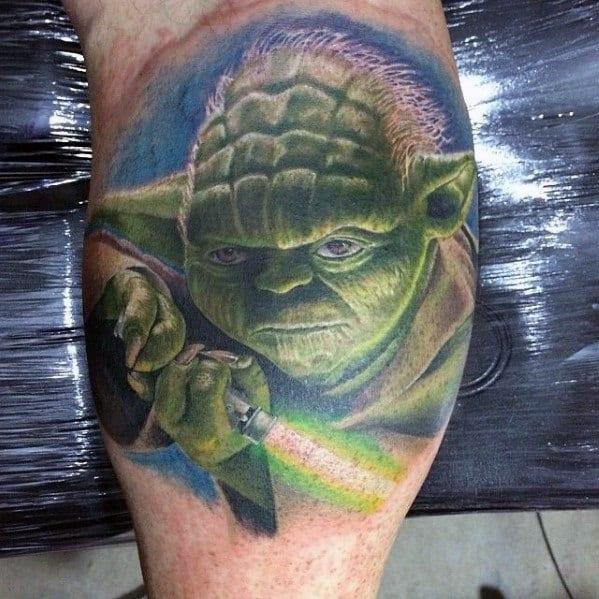 Mens Yoda Light Saber Leg Calf Tattoo