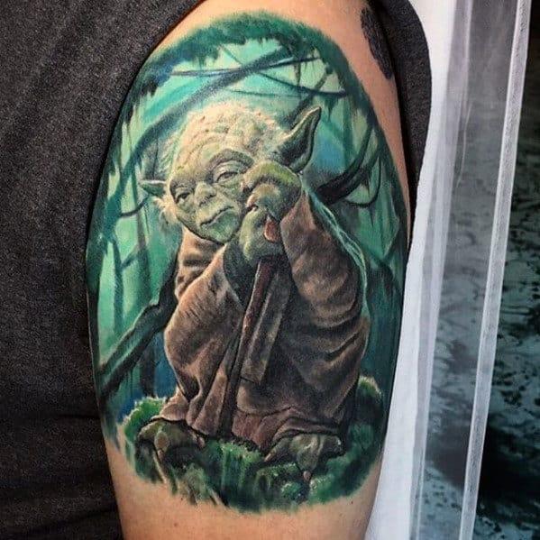Mens Yoda Quarter Sleeve Tattoo Designs