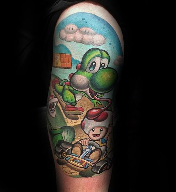 Mens Yoshi Tattoo Design Ideas Half Sleeve