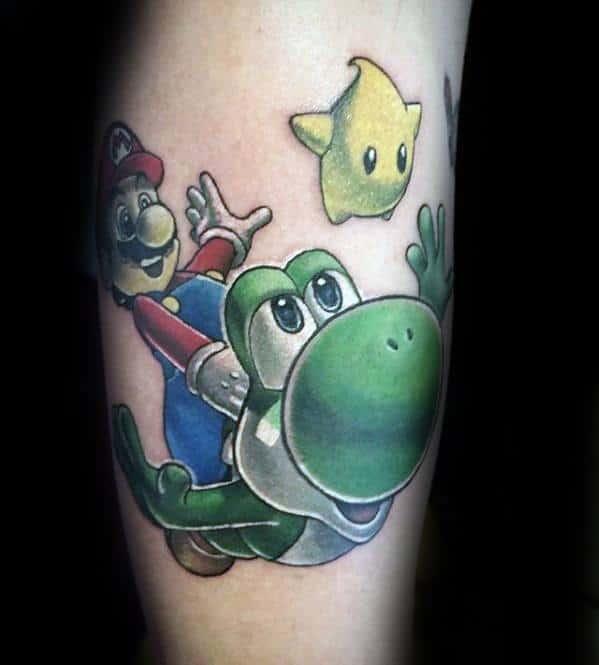 Mens Yoshi With Mario And Star Leg Tattoo Design Inspiration