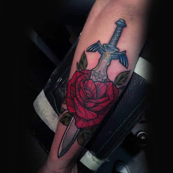 Mens Zelda Sword With Red Rose Forearm Tattoo