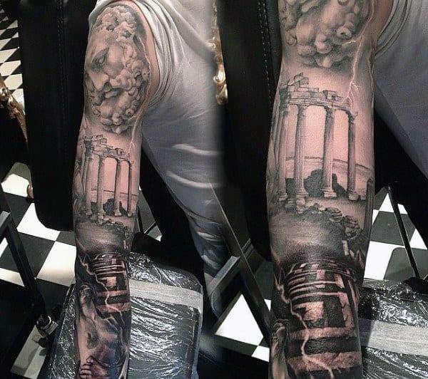 Mens Zeus Tattoo Designs Full Sleeve