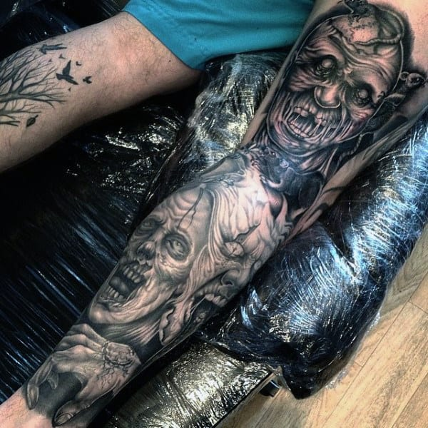 Mens Zombie Rat Leg Sleeve Tattoos