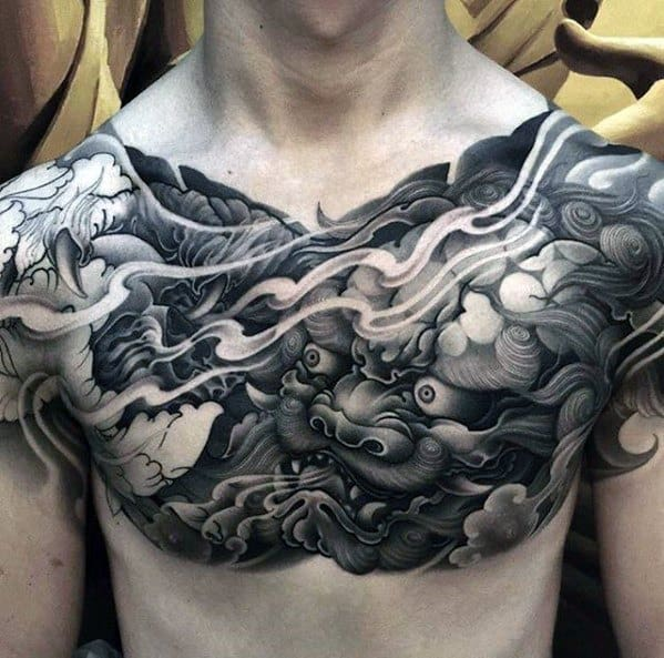 Mens unique Chinese Shaded Black And Grey Tattoo On Chest