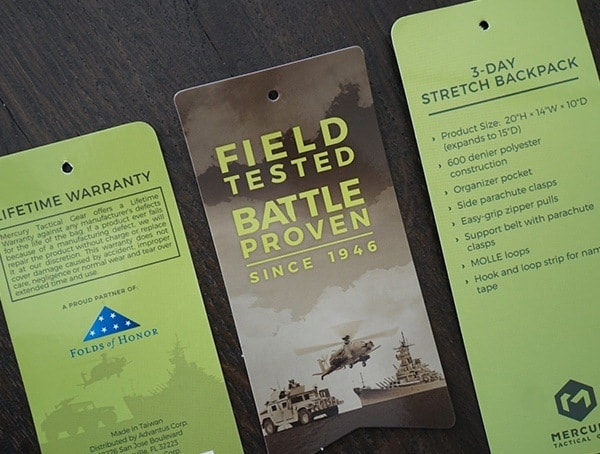 Mercury Tactical 3 Day Strech Tags For Backpack