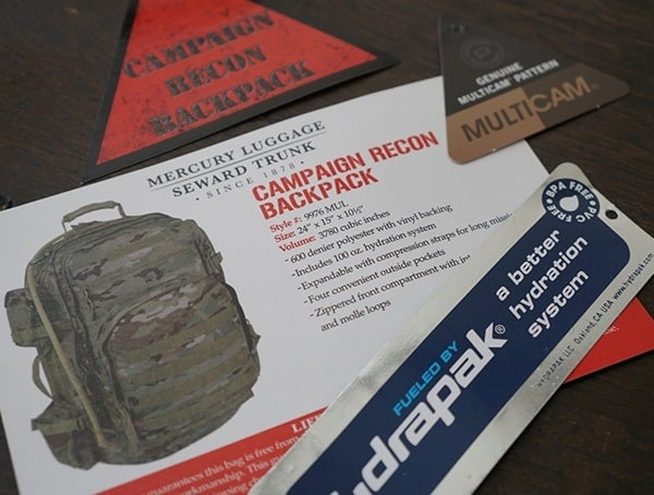 Mercury Tactical Recon Backpack Tags