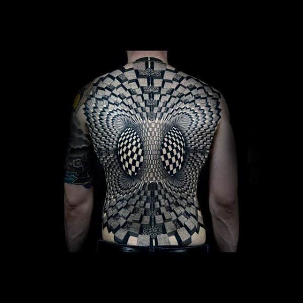 Mesmerizing Black And White Pattern Tattoo Male Full Back