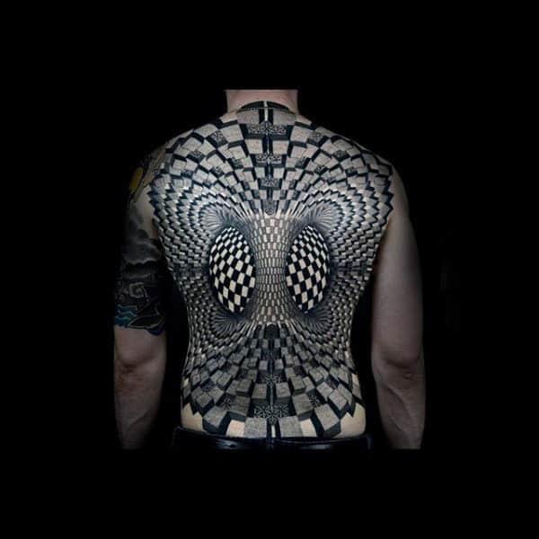 Mesmerizing Black And White Pattern Tattoo Male Full Back