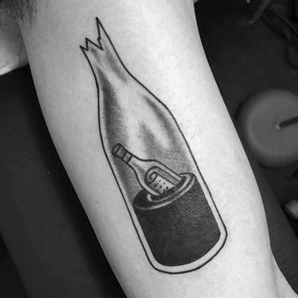 Message In A Broken Bottle Guys Inner Arm Bicep Tattoo Ideas