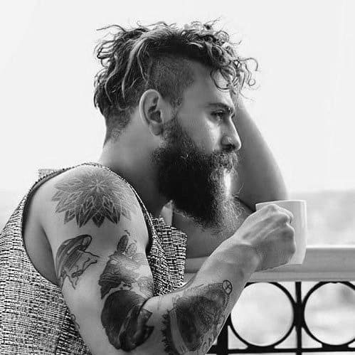 Messy Undercut Hairstyle For Males With Beards