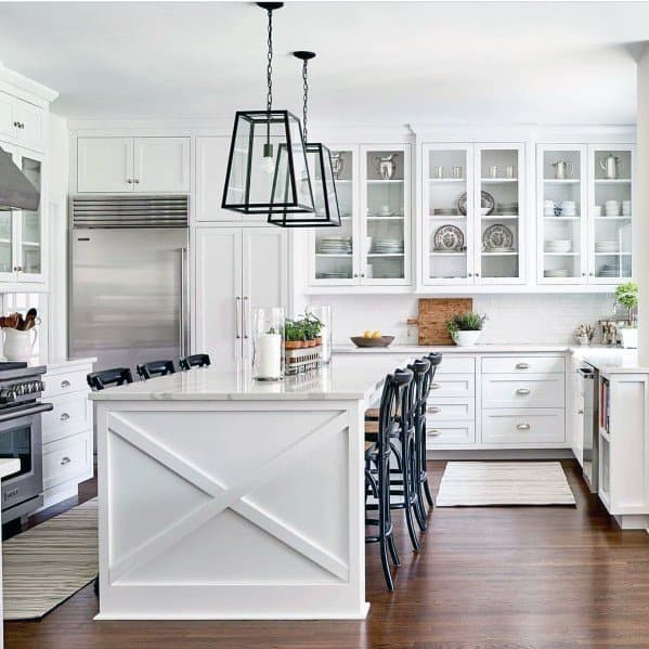 Top 50 Best Grey Kitchen Ideas: Top 50 Best Kitchen Island Lighting Ideas
