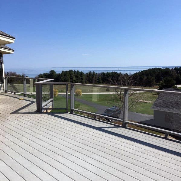 Metal And Glass Panels Designs Deck Railing
